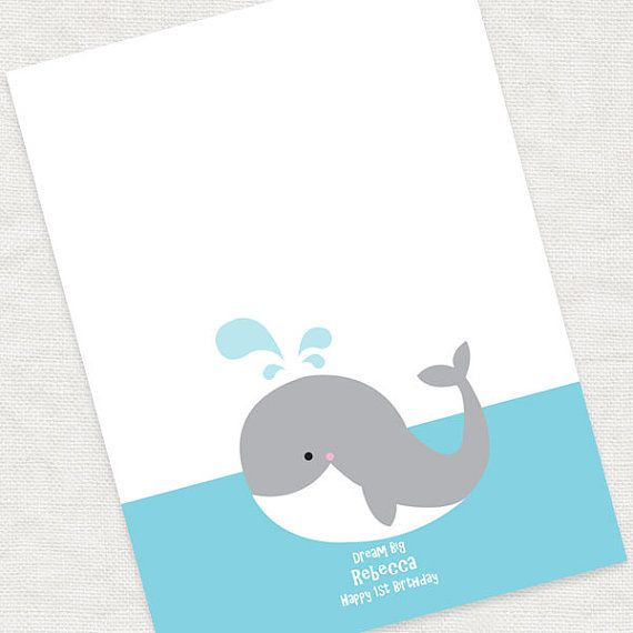 Whale Fingerprint Guestbook Printable File For Baby Shower Or