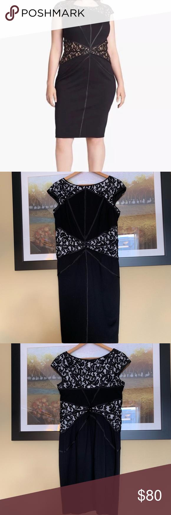 Tadashi Shoji Black White Lace Leather Dress Xl Beautiful Black Dresses Leather Dresses Dresses [ 1740 x 580 Pixel ]