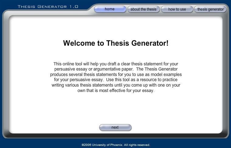 thesis generator helps draft a clear thesis statement for a  thesis generator helps draft a clear thesis statement for a persuasive or argumentative  essay use