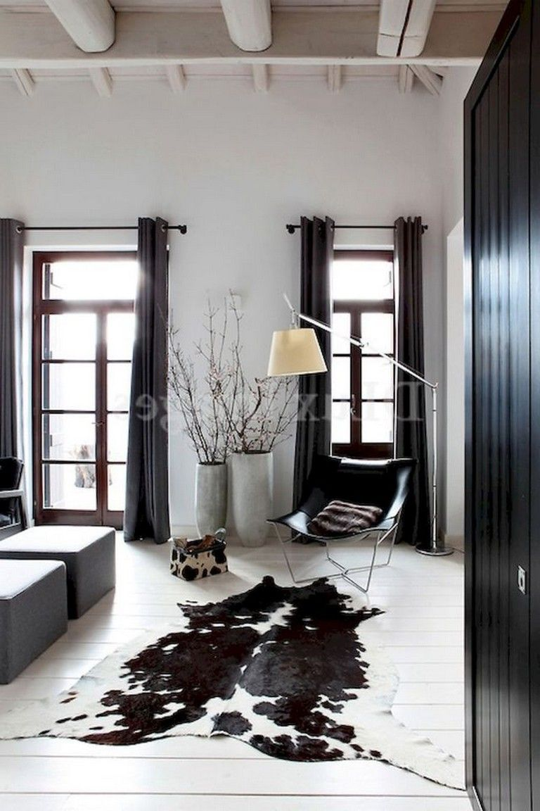 75 Luxury Apartment Living Room In Black And White Style Ideas White Cowhide Rug Cowhide Decor Cow Hide Rug