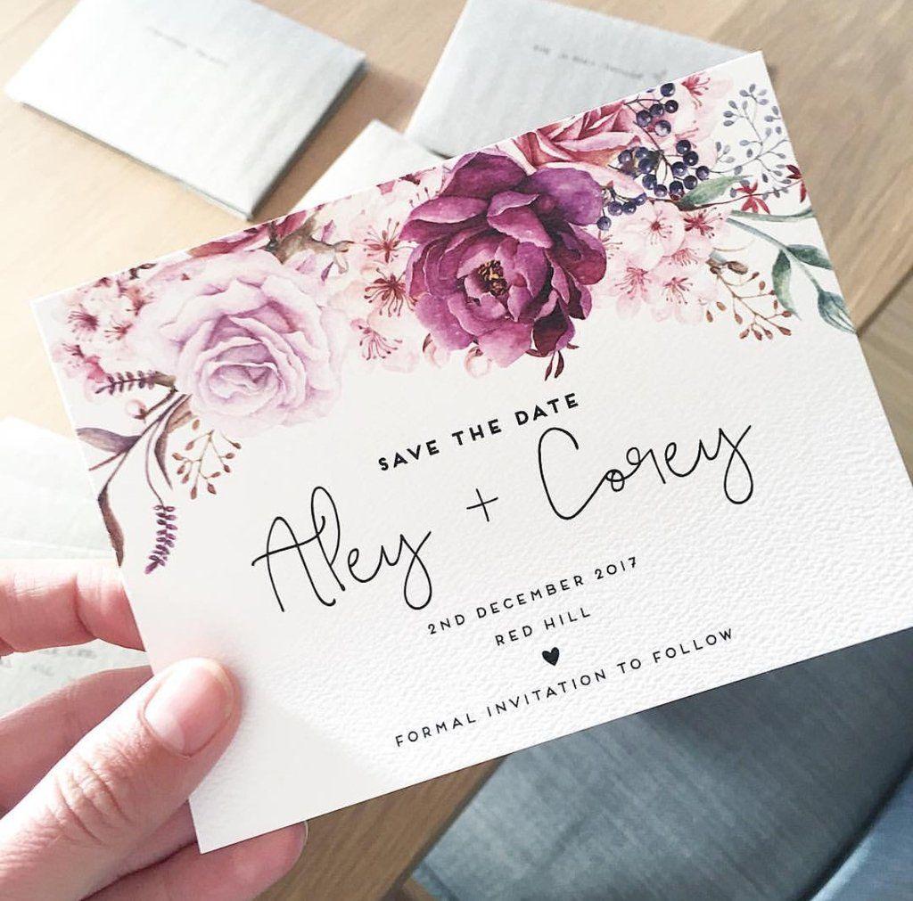Plum Floral Rose Watercolour Watercolour Wedding Elegant