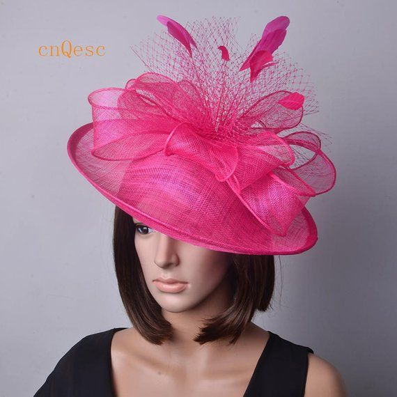 436c66df8d27e Hot pink Big saucer sinamay fascinator hat with feathers veiling ...