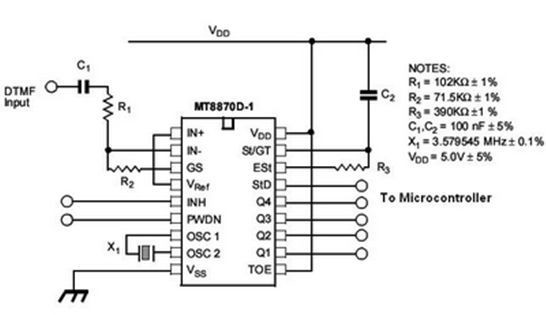 Circuit Diagram of DTMF Decoder | Electronic Project Ideas