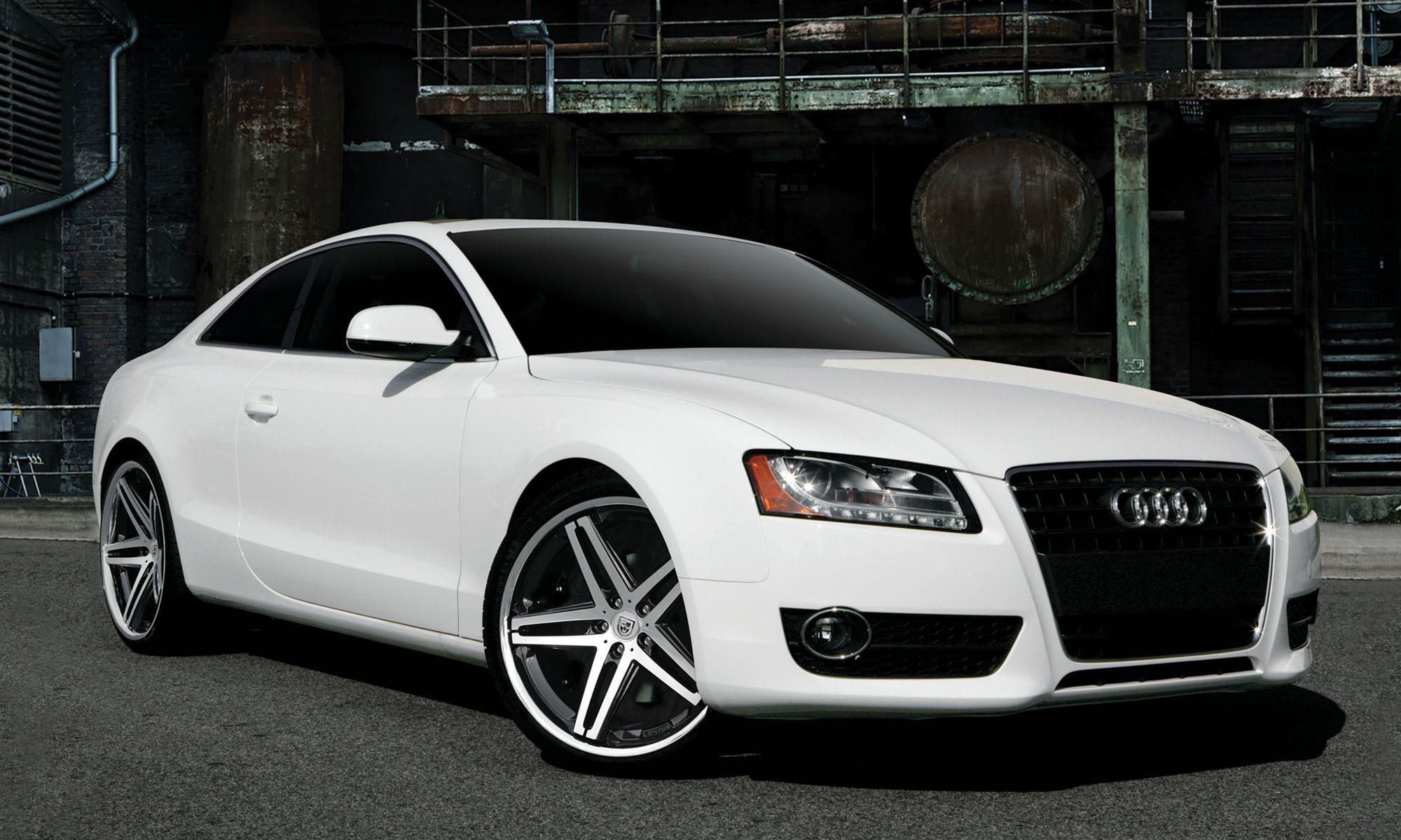 2011 white audi a5 with gloss black machined and chrome lip lexani r five wheels staggered 20. Black Bedroom Furniture Sets. Home Design Ideas