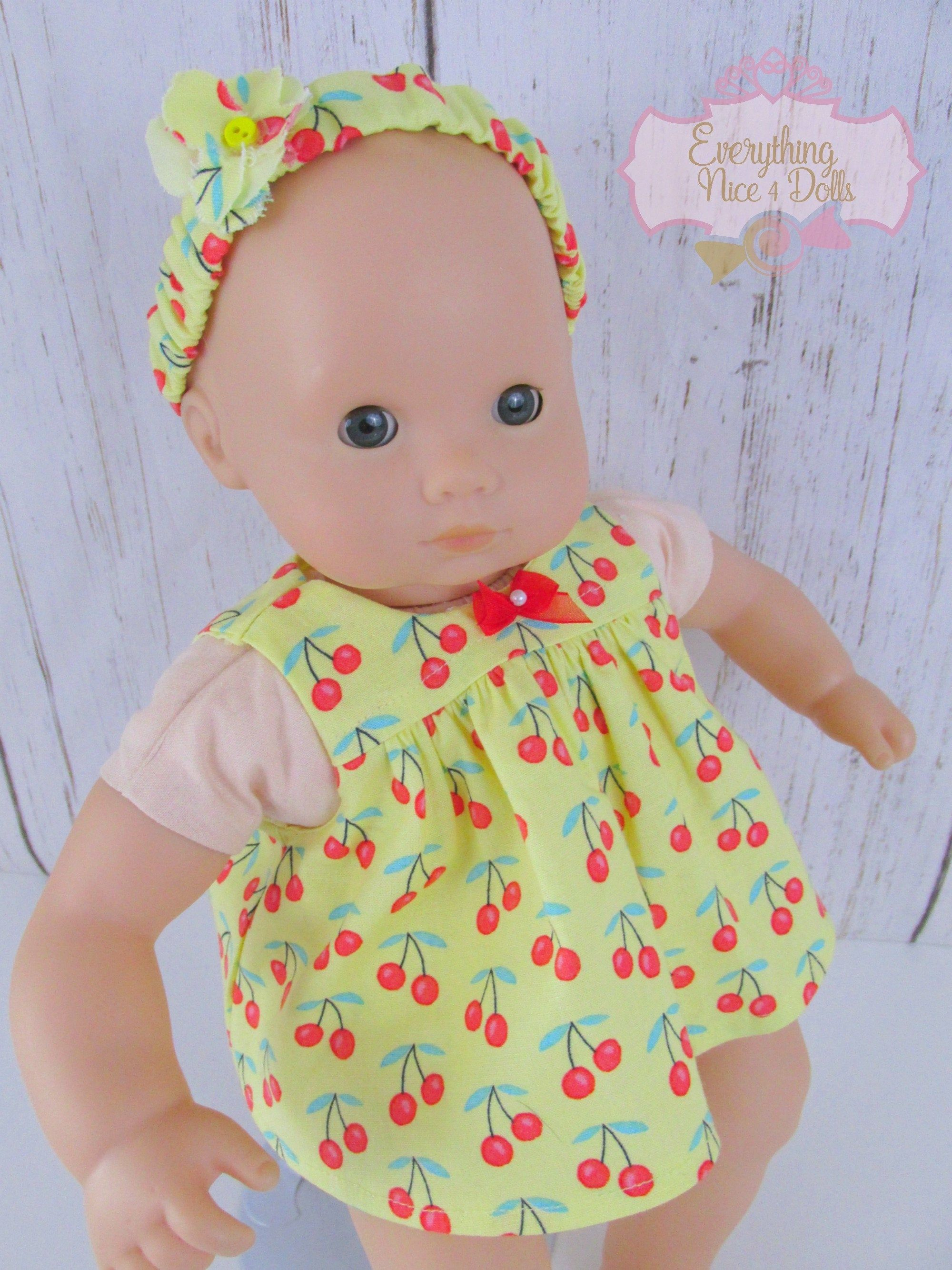 Cherry Baby Doll Dress Yellow Romper Dress 15 Inch Doll Etsy Baby Doll Clothes Simple Baby Clothes Kids Clothes Patterns