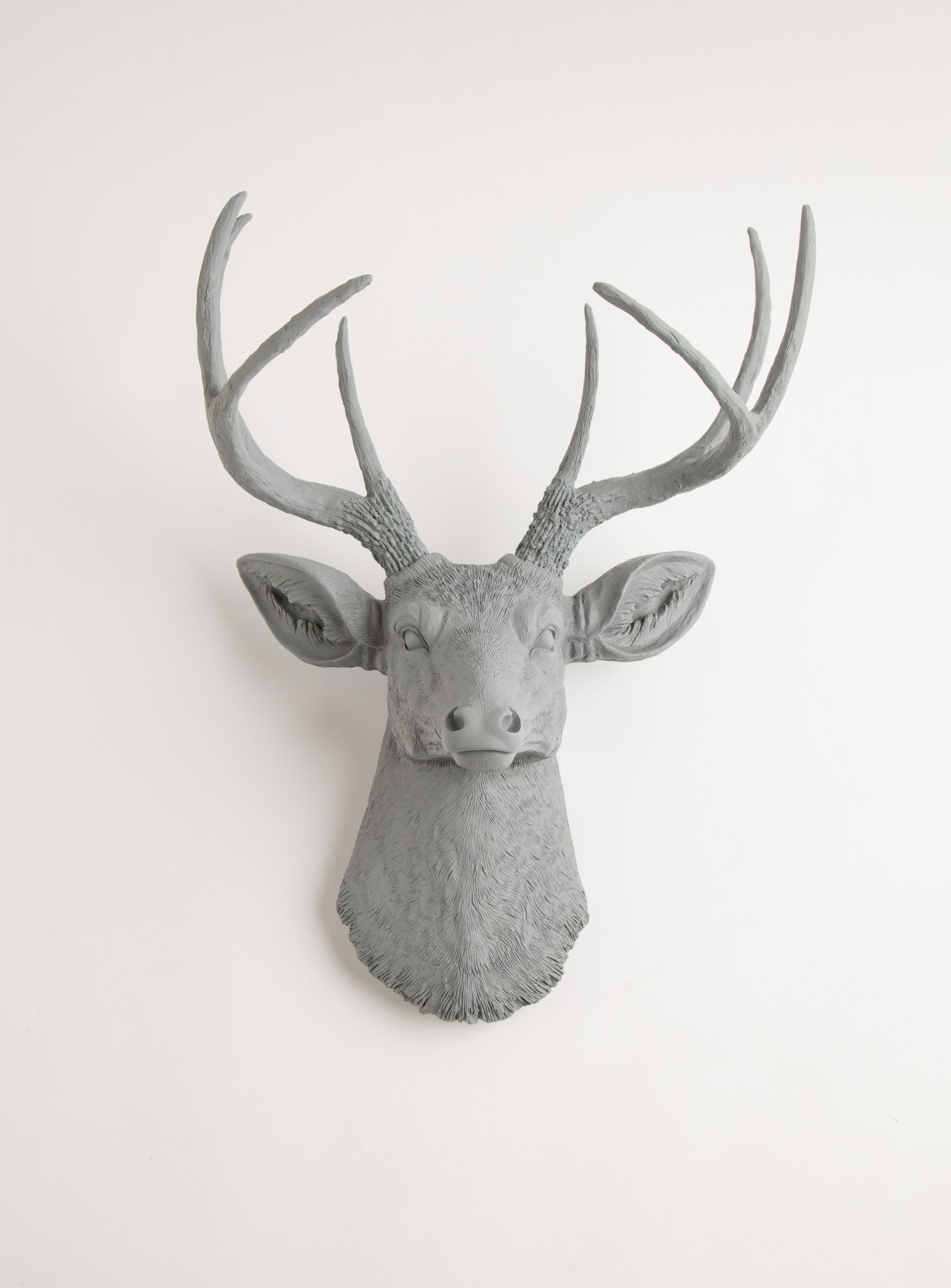 The Geoffrey Stag Deer Head Faux Taxidermy Grey Resin Faux Deer Head Deer Head Wall Mount White Faux Taxidermy