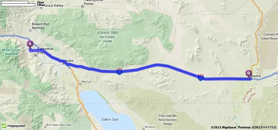Driving Directions From Palm Springs California To Blythe - Mapquest california