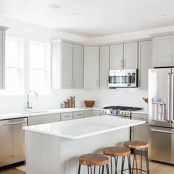 Light Grey Shaker Kitchen Cabinets With White Quartz Countertops,  Transitional, Kitchen