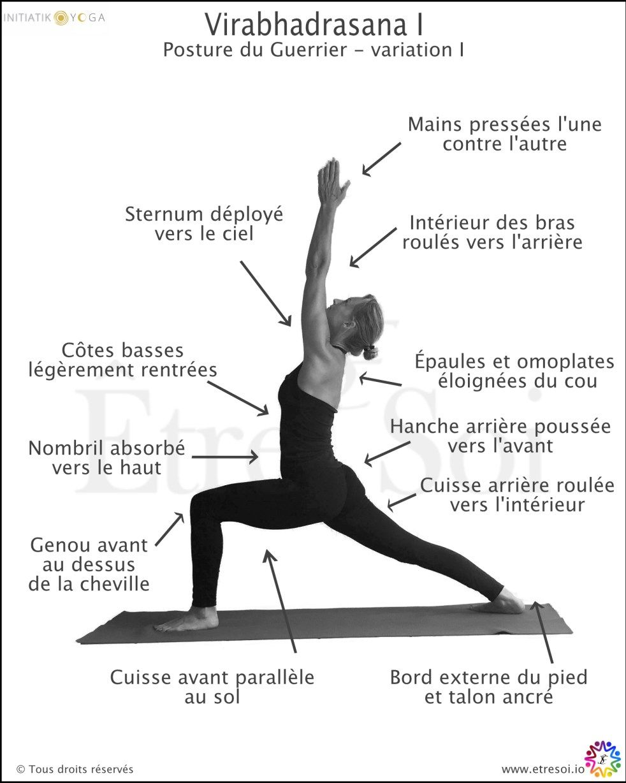 Virabhadrasana I - ÊTRE SOI | Posture de yoga, Yoga facile