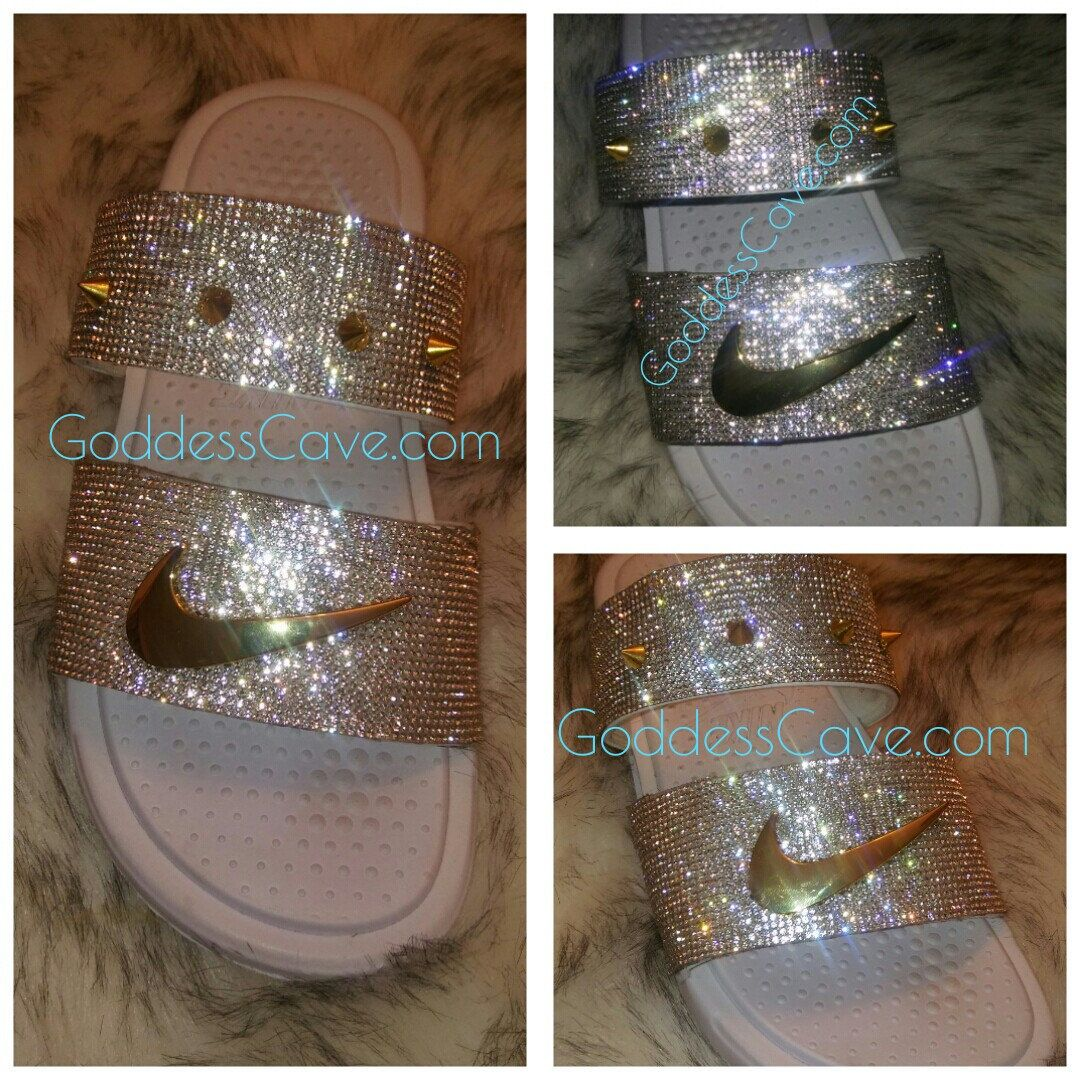 0d43100bf6c1f ... White Crystals - Swoosh Pin - Spikes - Diamante on Etsy. Updates from  GoddessCave on Etsy. Nike Duo Bling Slides www.GoddessCave.com