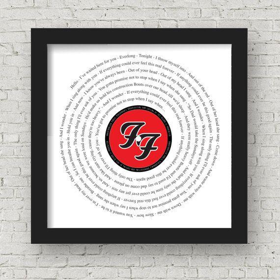 Any song lyrics framed Framed print in black or white
