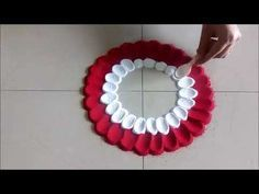 Super easy flower design rangoli using spoon creative by shital mahajan youtube also rh pinterest