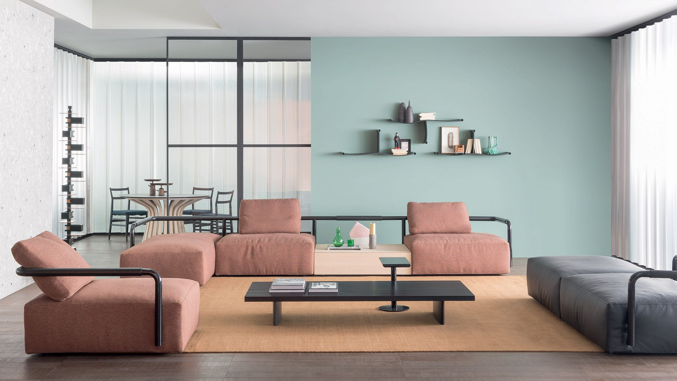 The Soft Props sofa by Cassina references handrails from the Milan