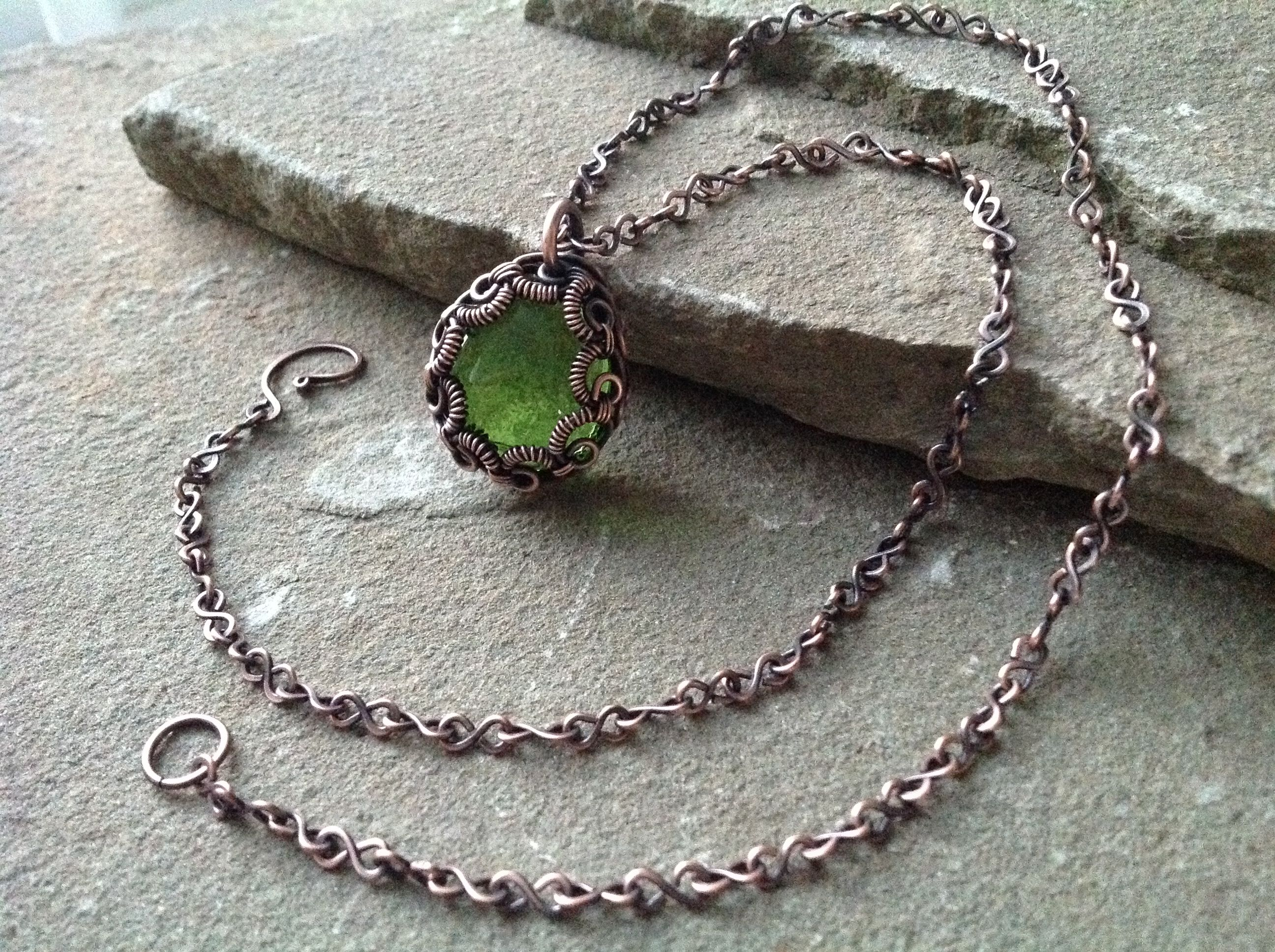 Pale Green Glass Cabochon in Antiqued Bare Copper Wire Bezel ...