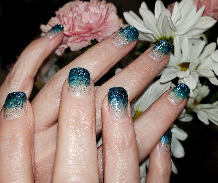 Blue White Gel Nails White Gel Nails Ombre Gel Nails Trendy Nails