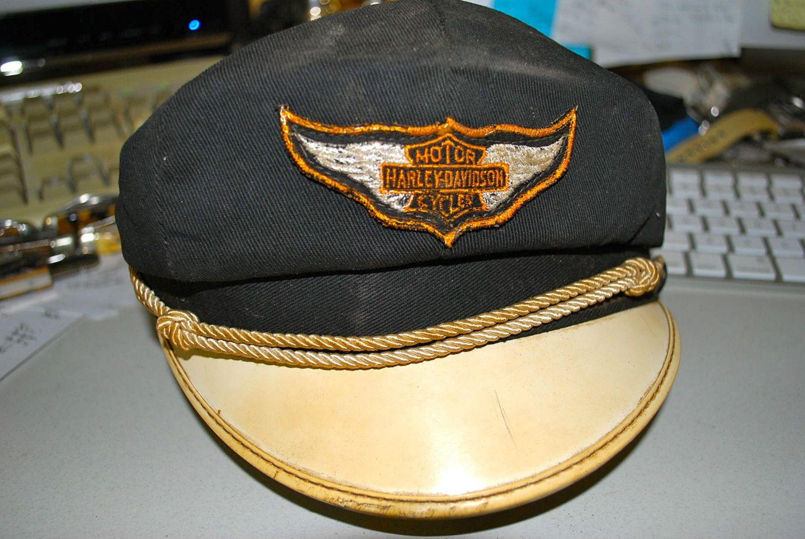 Vintage Leather Harley Davidson Captain's Hat  |Vintage Harley Davidson Hats