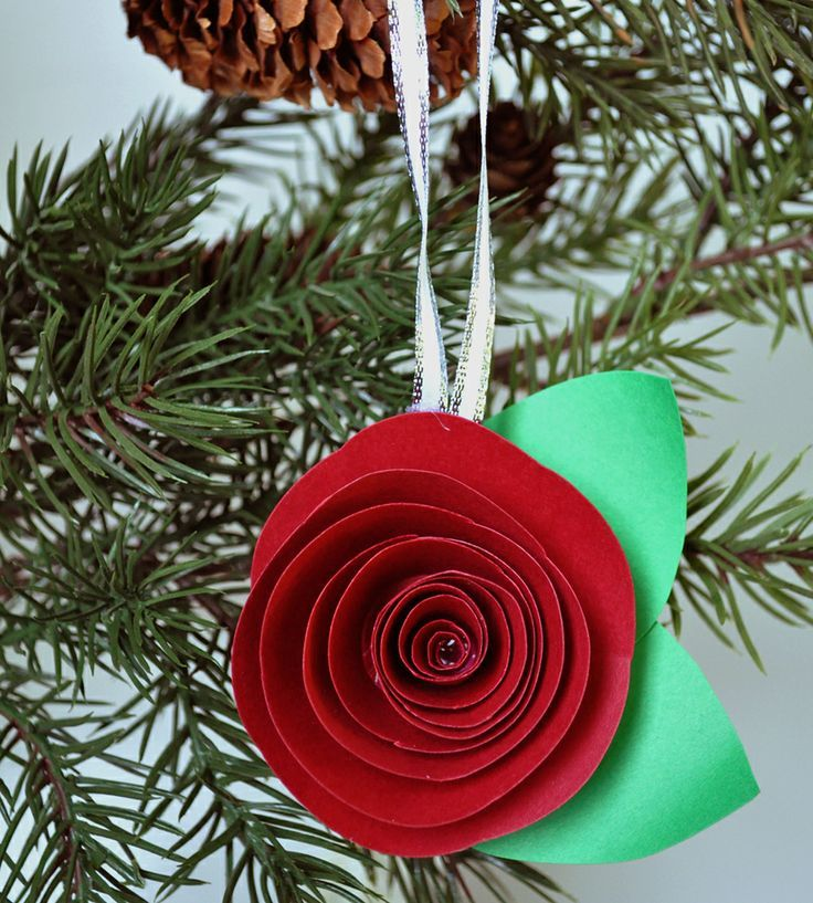 Red Paper Flower Christmas Ornament Christmas ornaments