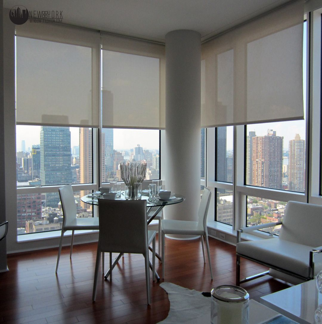 Automated Sun Shades Installation At A Midtown Apartment Building In Nyc Product Phifer 5 Openness W Custom Window Treatments Shades Blinds Interior Windows