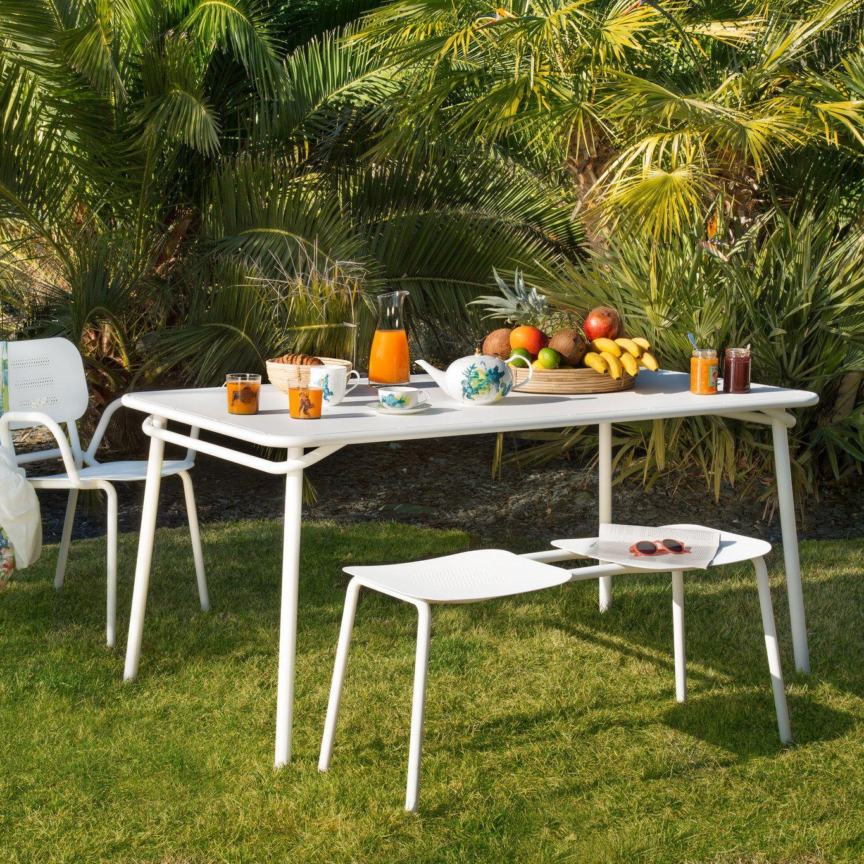 Banc de jardin en acier blanc | Habitat | Garden Party | Mobilier ...