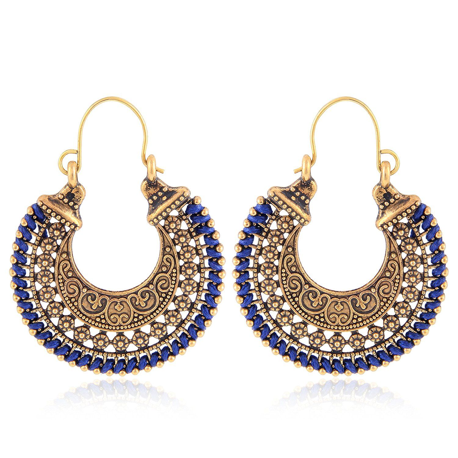 d13bf59dbd78 Buy Tiaraz Blue Alloy Hoop Earrings for Women Online at Low Prices in India