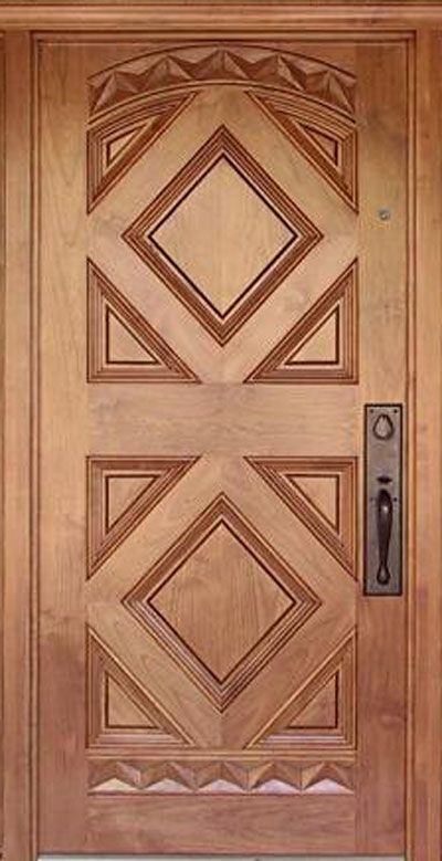 Wooden door design latest kerala model wood single doors for Wooden main doors design pictures