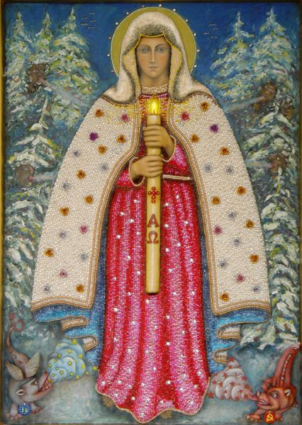 """Traditionally the Western term """"Candlemas"""" referred to the practice whereby a priest on 2 February blessed beeswax candles for use throughout the year, some of which were distributed to the faithful for use in the home. In Poland the feast is called Święto Matki Bożej Gromnicznej (Feast of Our Lady of Thunder candles). This name refers to the candles that are blessed on this day, called gromnice, since these candles are lit during (thunder) storms and placed in windows to ward off storms."""