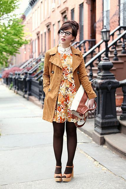 Outfit Details:  lace shirt - H+M (old)  floral necklace - vintage  Ruellia Radiance Dress - c/o ModCloth  trench coat - Old Navy  tights - Foot Traffic  Foley + Corinna linen and leather mid-city tote (similar here and gorgeous fuchsia one here) - c/o Foley + Corinna  Cynthia Vincent Gemma heels - c/o Cynthia Vincent  lipstick - Bobbi Brown lipstick in Rose