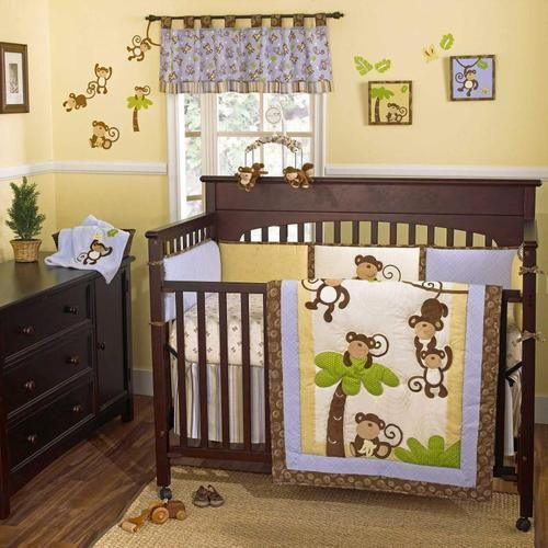 Jungle Safari Blue And Brown Themed Baby Boy 5pc Nursery