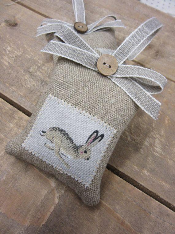 Sophie Allport HARE Heart  Organic Lavender Linen Ribbon  Easter gift