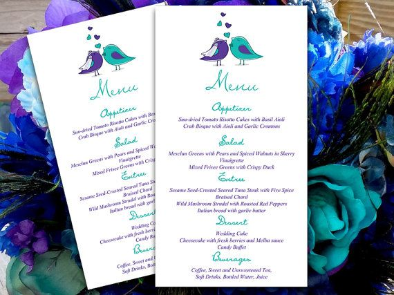 Love Bird Wedding Menu Card Microsoft Word Template Regency - Menu Word Template