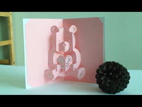 Valentine Teddy Bear Love Pop Up Card Tutorial Free Pattern Pop Up Card Templates Valentines Day Card Templates Pop Up Valentine Cards