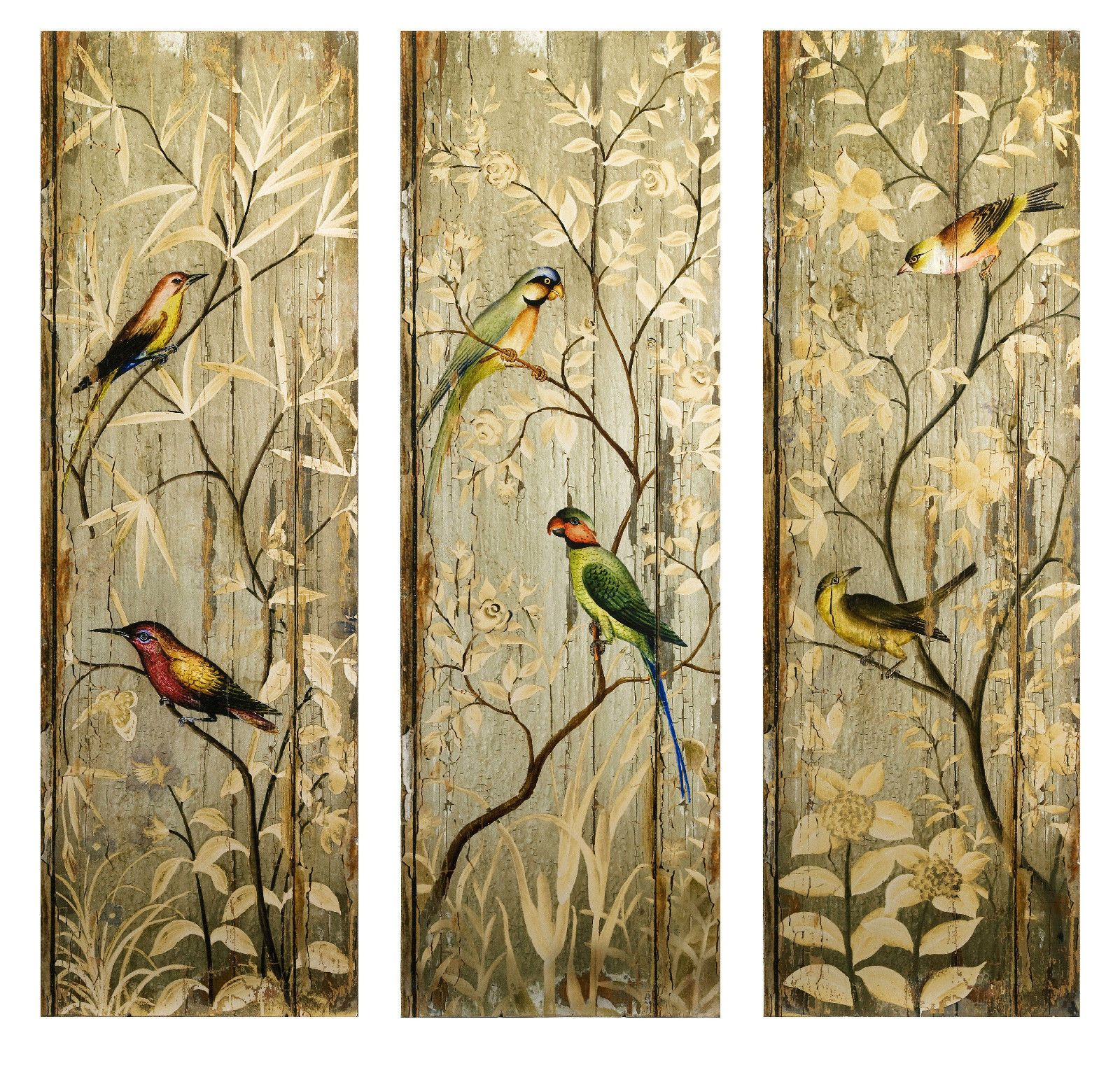 Wood Art Panels | ... Painted Birds Roses Rustic Wood Wall Art Decor ...
