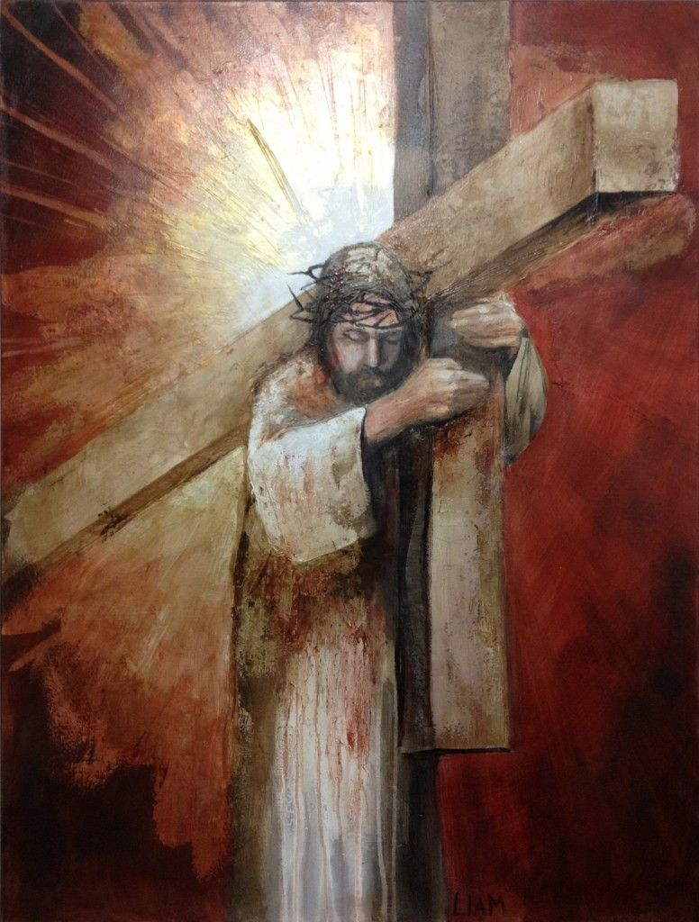 Jesus Carrying The Cross Painting Modern Jesus Art Chris...