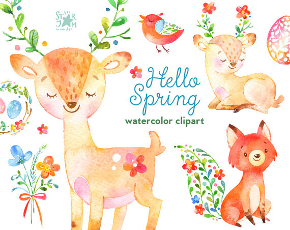Hello Spring Watercolor Animals And Floral Clipart Deer Etsy Hello Spring Watercolor Animals Clip Art