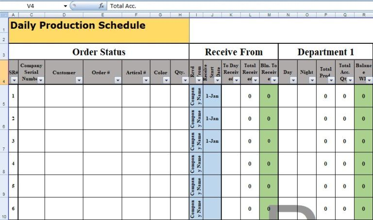 daily production schedule template excel business management