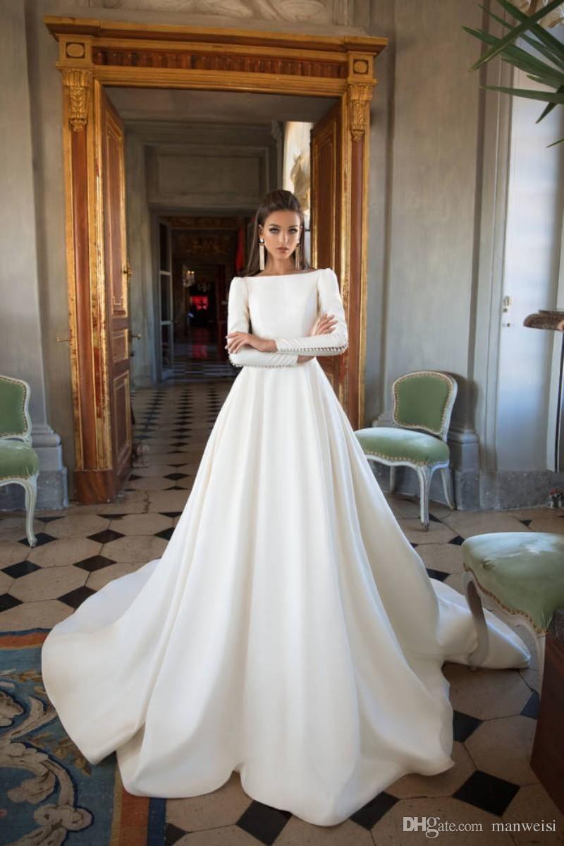 5012e399a4 2018 Milla Nova Long Sleeve Satin Wedding Dresses Bateau Neck Backless Elegant  Bridal Gowns Beach Country Wedding Dress