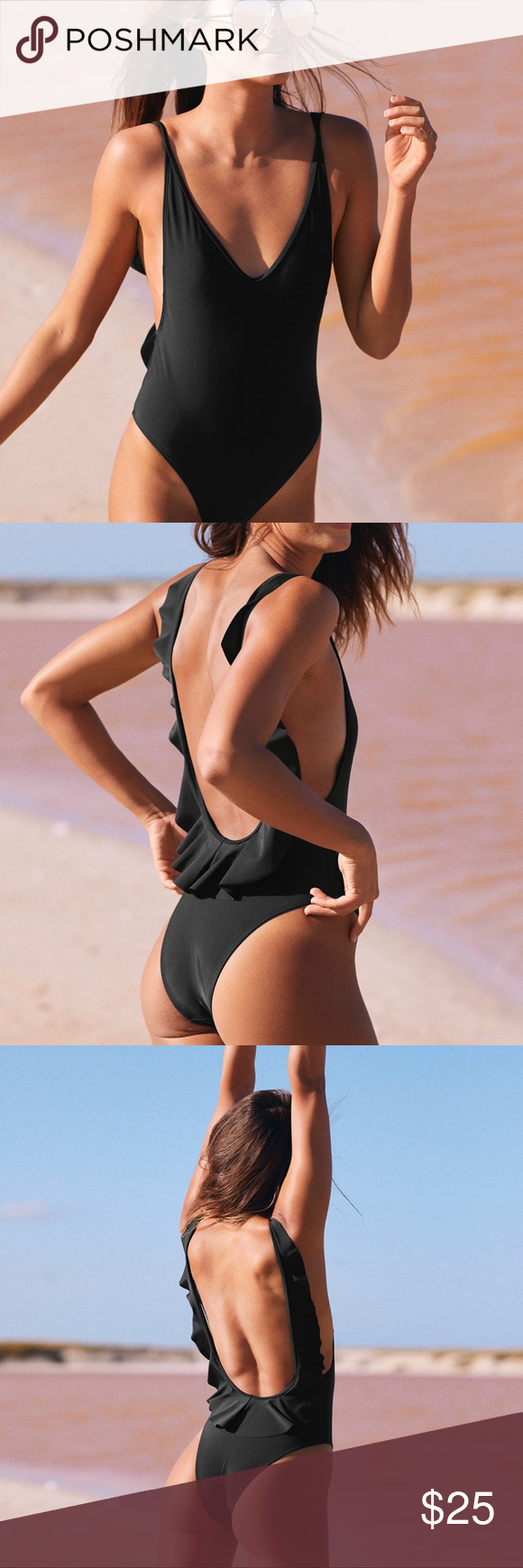 a7977932c93 Black one piece swimsuit by Aerie. Has a ruffle down the straps and the back,  high cut legs, removable padding and a scoop back.