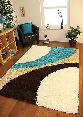 Hochwertig Shaggy Mat Teal Blue Cream Brown Modern Next Style Swirl Rug Soft Thick Non  Shed