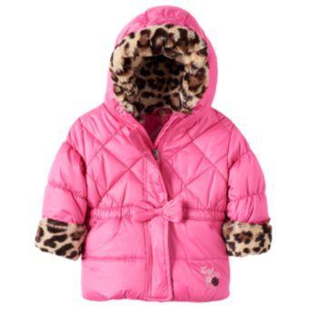 Baby Girl Zeroxposur Leopard Trim Puffer Jacket Jackets