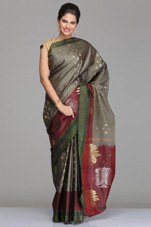 76e91685c237d6 Buy Kanjeevaram Silk Sarees Online | Steel Grey Kanjivaram Silk Saree With  Green And Maroon Striped Border And Silver & Golden Half-Fine Zari Motifs  On ...