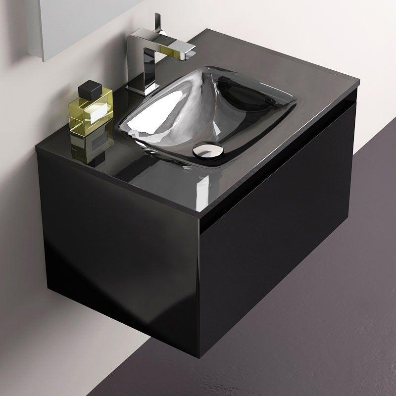 Meuble de salle de bain noir brillant Glass 60 cm toilettes