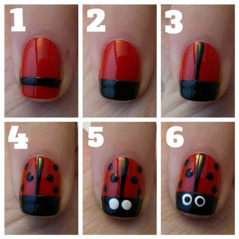 Lady Bug Nails Are Sooo Easy You Can Do It Yourself Perfect For