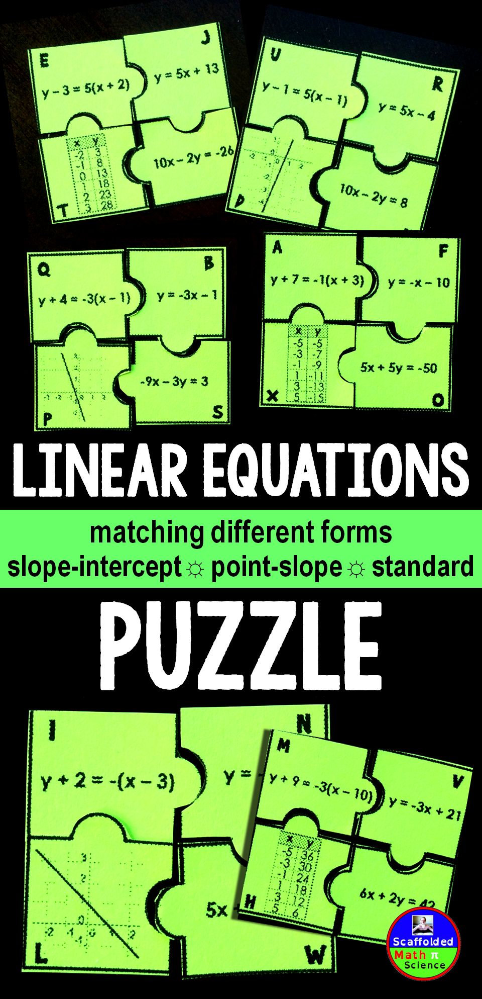 Linear equations puzzle equation activities and students linear equations puzzle falaconquin