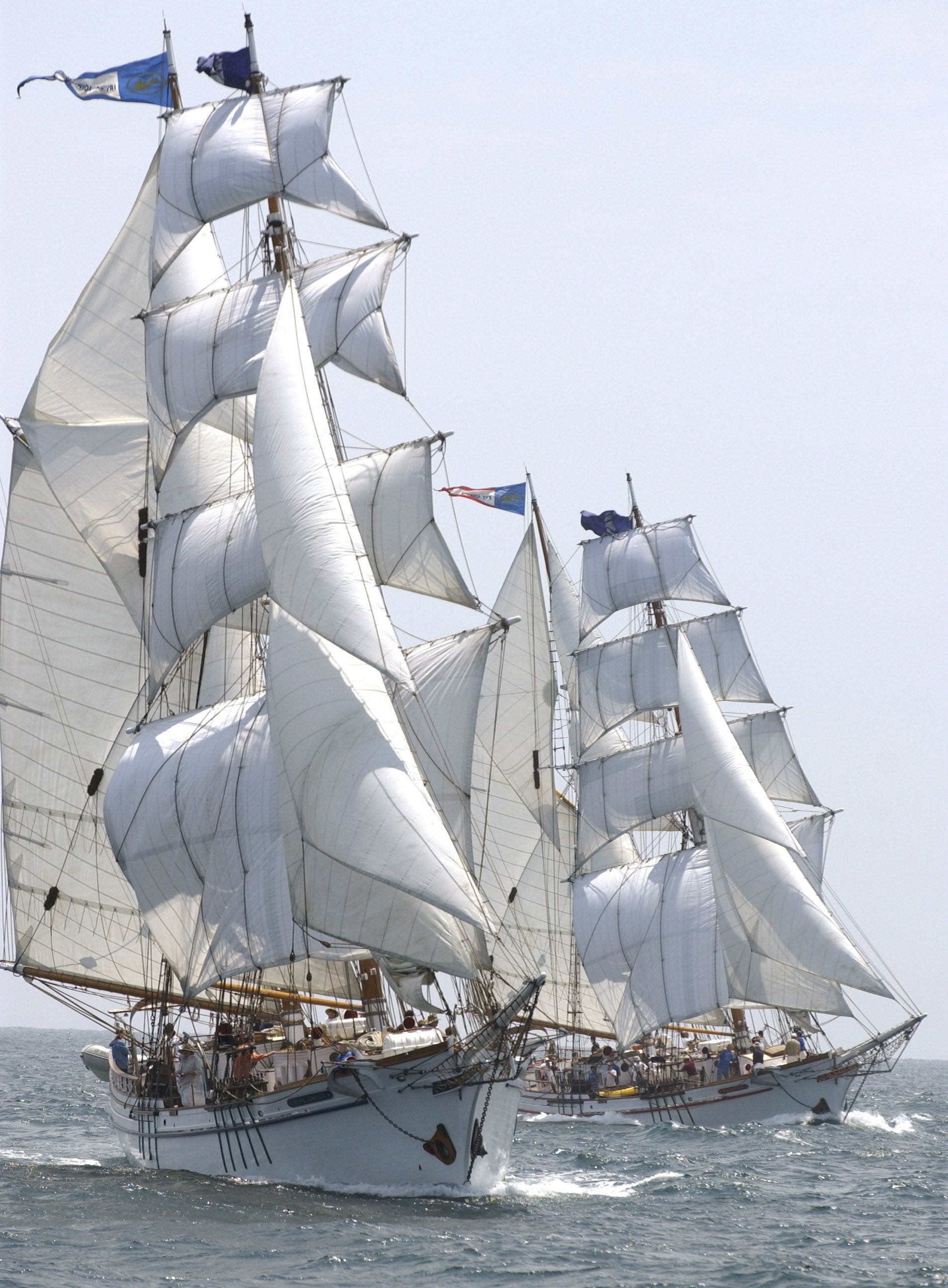 the twin brigantines irving johnson and exy johnson under full sail with harbor area youth as far we know these identical tall ships are the only