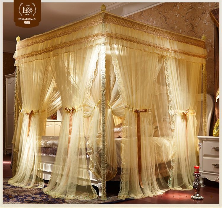 Luxury Bed Canopy Curtain Valance Double Layers Stainless Steel Frame Queen King Luxurious Bedrooms Canopy Bed Curtains Luxury Bedding Master Bedroom