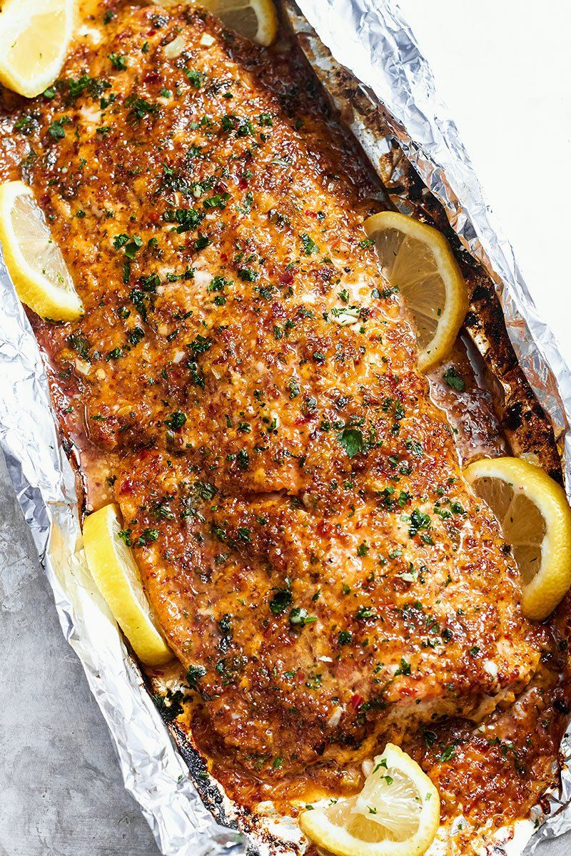 Baked Honey Garlic Salmon In Foil Seafood Dinner Recipes Baked Salmon Recipes