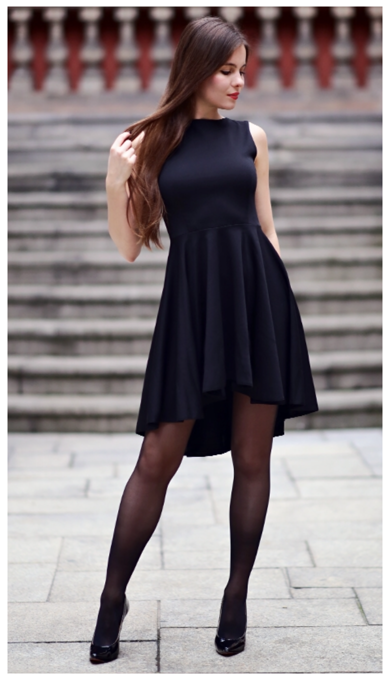 Black Dress With Long Back Black Stockings And Patent Leather Heels Dress With Hosiery Black Dress With Long Ba Dress With Stockings Fashion Tights Fashion [ 1360 x 780 Pixel ]