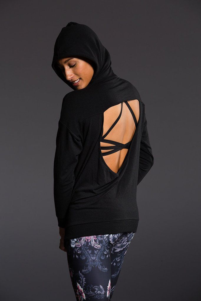 ea0a86fa6823b Comfort in the front and sassy in the back! Onzie s Drop Back Hoodie  features a deep scoop cut out to show off one of your cool bra tops.