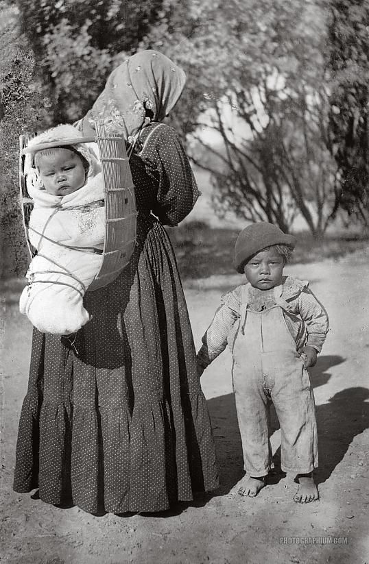 Baby Cradle Big W Pomo Indian Woman Carrying Baby In Cradleboard Lakeport