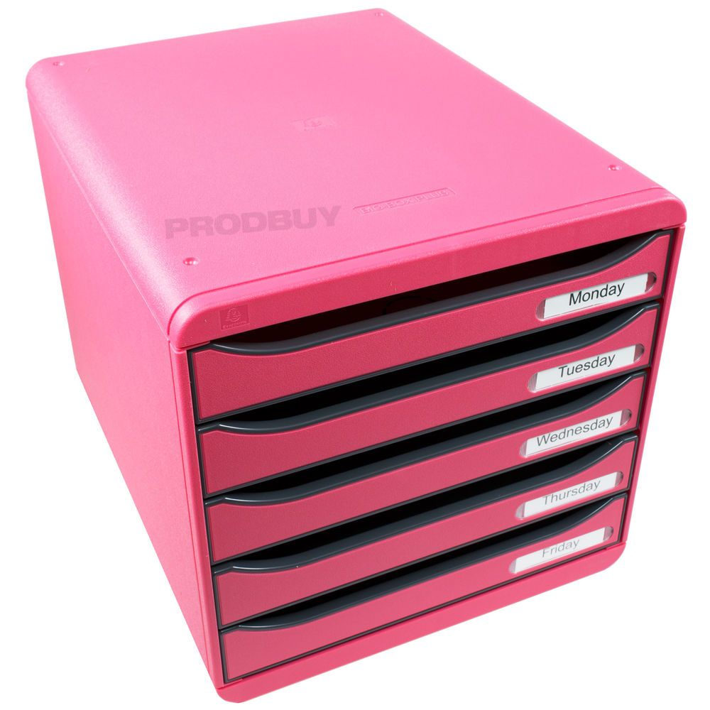 Pink Big Box Plus 5 Drawer Storage Tower A4 Paper Desk Organiser ...